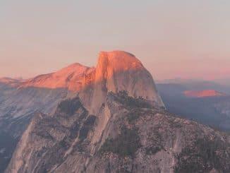 Zonsondergang over Yosemite vanaf Glacier Point