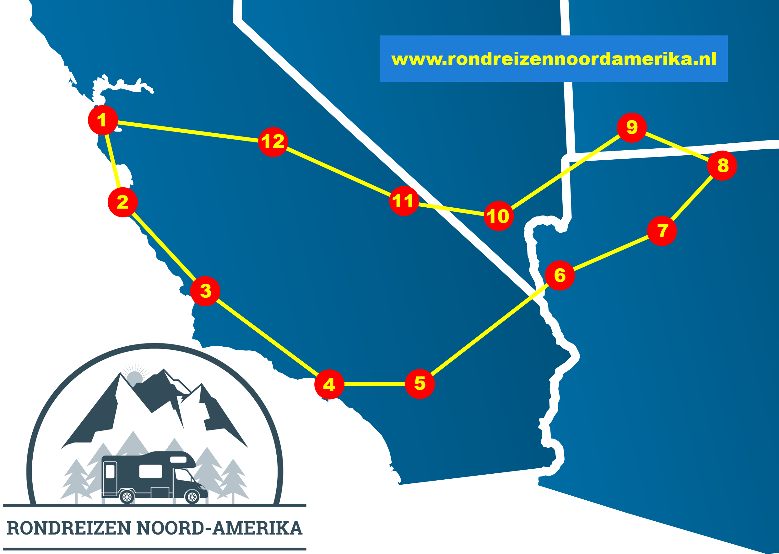 Rondreis westkust Amerika route