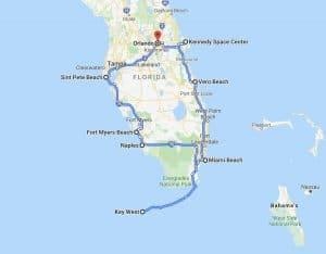 Rondreis Florida 10 dagen route