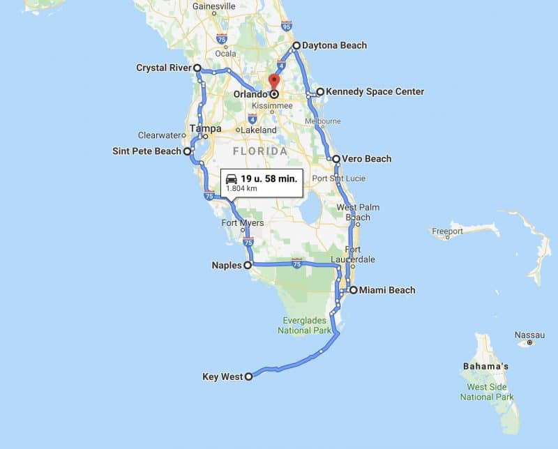 Rondreis Florida 21 dagen route