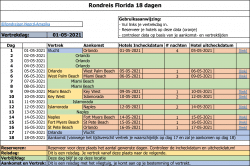 Rondreis Florida 18 dagen reisschema Excel