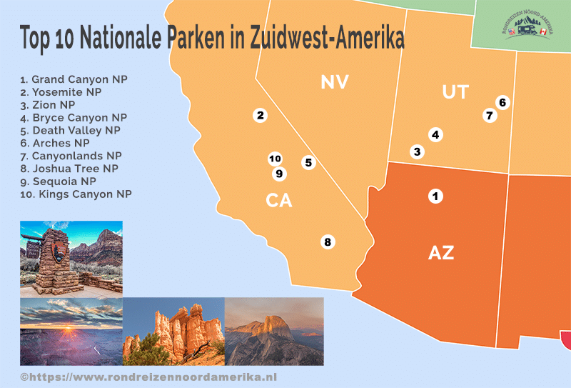 Top 10 Nationale Parken in Zuidwest-Amerika