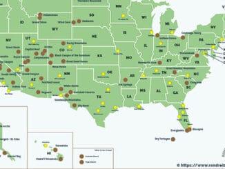 Nationale Parken Amerika Kaart
