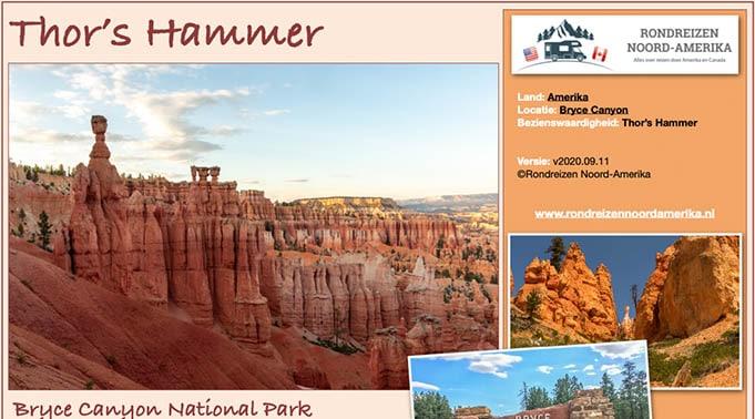 Reisinformatie Thor's Hammer in Bryce Canyon NP